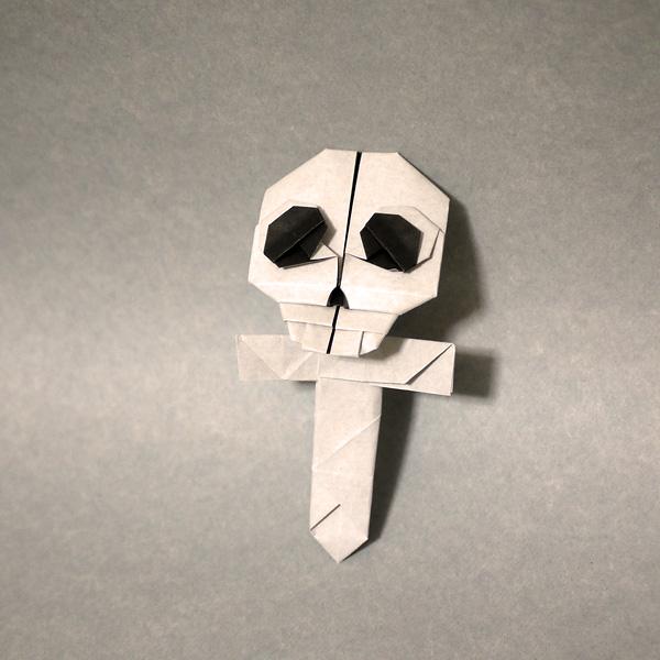 骸骨の十字架 折り紙