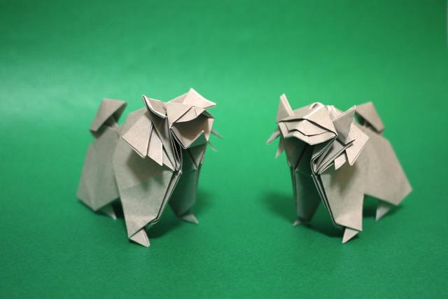 折り紙 神社の狛犬