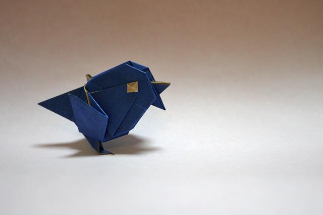 折り紙 青い鳥