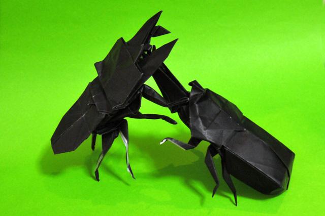 折り紙 カブトムシとクワガタ