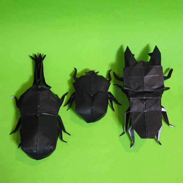 折り紙 クワガタムシとカブトムシ雄雌