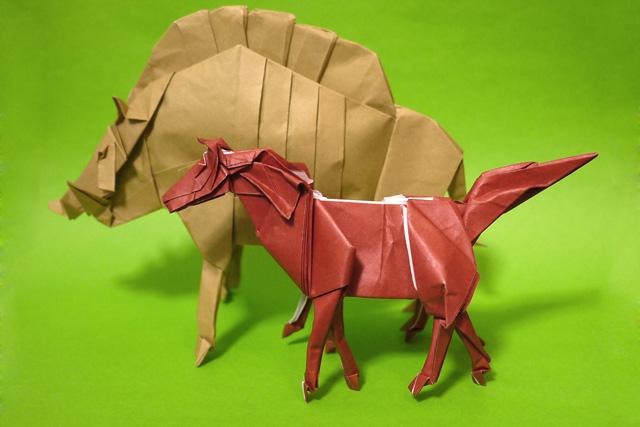 折り紙 スレイプニルと猪神